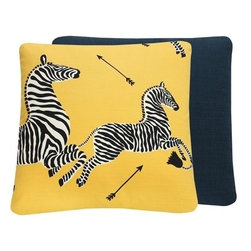 Chloe and Olive - Yellow Zebra Print Scalamandre 20x20 Throw Pillow - This iconic, prancing print by Scalamandre will bring vivacity and glamour to a couch, bed or chair. With a stunning pair of zebras on each throw pillow, the exquisite combination of yellow, black and white will be a favorite for many seasons to enjoy. Scalamandre is a well known manufacturer of the finest quality fabrics for over 80 years.