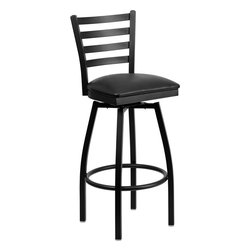 Flash Furniture - Flash Furniture Hercules Series Black Ladder Back Swivel Metal Barstool - This stylish Swivel bar stool will compliment any Home, Restaurant, Lounge or Bar. The 360 degree swivel seat allows you to swing around effortlessly. The comfortably padded seat will keep you and your guests comfortable and is easy to clean. The heavy duty frame makes this stool perfect for commercial or home usage. This attractive stool will add to your casual or elegant setting. [XU-6F8B-LADSWVL-BLKV-GG]