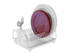 Better Houseware Corp. - Compact Dish Drainer Set - Stainless steel compact dish rack comes with a clear plastic tray and cutlery holder. Rack holds up to 12 dinner plates and takes up less than 1-square foot of space.