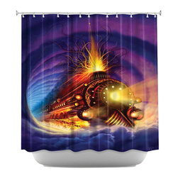 DiaNoche Designs - Shower Curtain Artistic - Ghost Train - DiaNoche Designs works with artists from around the world to bring unique, artistic products to decorate all aspects of your home.  Our designer Shower Curtains will be the talk of every guest to visit your bathroom!  Our Shower Curtains have Sewn reinforced holes for curtain rings, Shower Curtain Rings Not Included.  Dye Sublimation printing adheres the ink to the material for long life and durability. Machine Wash upon arrival for maximum softness on cold and dry low.  Printed in USA.
