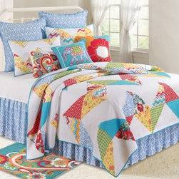 C and F Enterprises Lola Bedding Set - A boho beauty, this C and F Enterprises Lola Bedding Set is a stylish way to redecorate. Perfect for the dorm or her bedroom, this quilt and bedding collection is filled with sassy blue, orange, yellow, and red against white. An on-trend way to dress your bed, this bedding set features a quilt with patchwork pattern. Key pieces are embellished with swirls, flowers, and a blue damask pattern. The ultimate in luxury, this collection is made of comfy cozy cotton and is machine-washable. Make it your own by adding on a coordinating dust ruffle, pillow shams, and a variety of plump decorative throw pillows. It comes in your choice of size.Quilt Dimensions:Twin: 86L x 66W inchesFull/Queen: 92L x 90W inches