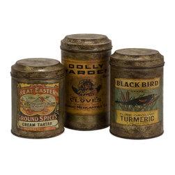 iMax - Addie Vintage Label Metal Canisters, Set of 3 - Set of three antiqued metal canisters each with a distinctive vintage label.