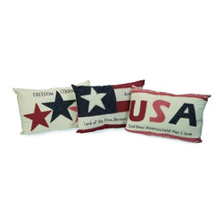 """IMAX CORPORATION - Patriotic Pillows - Set of 3 - This patriotic set of three pillows celebrates freedom with quilted mix of pattern. Set of 3 in various sizes measuring around 25""""L x 16.25""""W x 21.5""""H each. Shop home furnishings, decor, and accessories from Posh Urban Furnishings. Beautiful, stylish furniture and decor that will brighten your home instantly. Shop modern, traditional, vintage, and world designs."""
