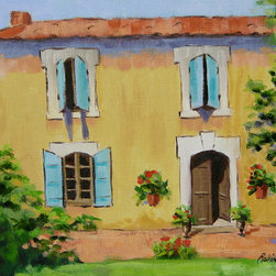 Roweboat Art Inc. - Afternoon In The South Of France, Fine Art Reproduction, 48X36 - Original painting reproduction