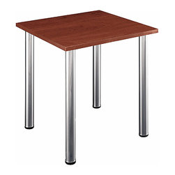 Bush Business - Aspen Hansen Cherry Square Table - A table suitable for just about any decorative need, this table has a  cherry stained  finished off with a diamond coat finish.  Built for diverse decorating needs, this table can serve as a corner table or an end table, and its legs are stationary with levelers to balance the table on uneven flooring.  Perfect for the most spirited of students, this cherry square classroom table is skillfully crafted for resilience and charm.  This piece is defined by a reliable Hansen cherry surface with Diamond coat finish for optimum scratch resistance.  A great looking table for home or the office. * Durable Hansen Cherry surface with Diamond Coat finish resists scratches and stains. PVC edge banding stands up to bumping and rearranging. Stationary metal legs have levelers for uneven floors. Coated underside prevents clothing snags. Meets ANSI/BIFMA standards for safety and performance. 28.346 in. W x 28.346 in. D x 28.937 in. H