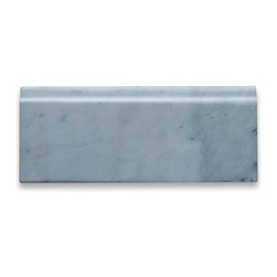 """Stone Center Corp - Carrara Marble Baseboard Molding 4x12 Satin - Carrara White Marble baseboard molding 5"""" width x 12"""" length x 3/4"""" thickness;"""