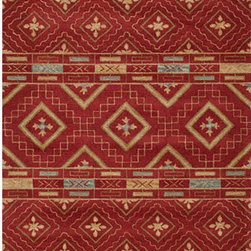 Momeni - Habitat 10 Red Rectangular: 5 ft. x 8 ft. Rug - - Habitat features a globally inspired blend of influences, from Ikat, Uzbek, Suzani and indigenous craftsman styles.   - Hand-tufted by expert artisans that encompasses an organic texture and feel.   - Made of 100% wool fiber, featuring a hard twist construction, this exquisite collection embraces a fashion-forward color palette exhibiting ethnic and nomadic motifs.   - Chinese Hand Tufted. Momeni - HABITHB-10RED5080
