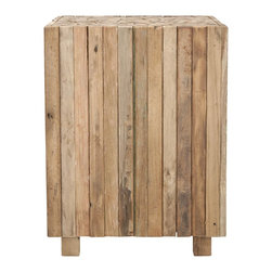 Safavieh - Richmond Square End Table - Natural and rustic, the Richmond square end table is crafted of reclaimed teak in a 21st century iteration of butcher block designs. Individual lengths of wood from old Javanese houses is laminated together to form an interesting tabletop motif and unique blend of colors. No assembly required.
