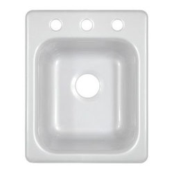 """Lyons Industries - Deluxe 16"""" x 20"""" Kitchen Sink - Features: -Kitchen sink. -Deluxe Sinks collection. -High gloss finish. -Durable high strength acrylic construction. -Installation type: Drop-in. -Single bowl. -8"""" Deep large sink bowl. -Three faucet holes for standard kitchen or pull-out faucet. -Fiber glass insulation for increased temperature stability. -Reinforced drain areas for garbage disposal installation. -Three simple tab and mounting clip system. -Easy to clean. -Easy to install. -Made in USA. -Manufacturer provides 3 years warranty for residential and 1 year for commercial. Specifications: -Drain opening size: 3.5"""". -Overall dimensions: 8"""" H x 16"""" W x 20"""" D."""