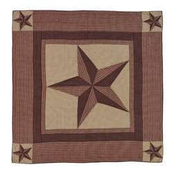 VHC Brands / Ashton & Willow - Landon Quilt, King - The large center star is red plaid and brown, flanked by checked khaki fabric and detailed with stitch in the ditch and echo quilting. Each corner also features a similar star. Back fabric is a checked khaki. It has 100% cotton shell and is hand quilted.
