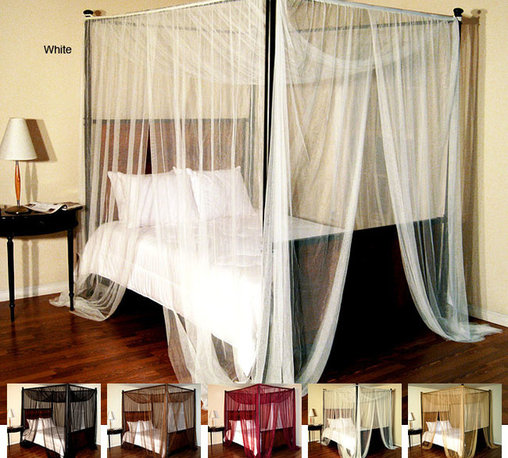 None - Palace Four-poster Bed Canopy - Keep the mosquitoes away with this sheer four-poster bed canopy. The canopy features flat panels that can be hung from your four-poster bed or the ceiling. They come in six color options to match your decor. Dry cleaning is recommended.