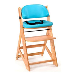"""Bergeron By Design - Keekaroo Height Right Kids Chair Natural with Aqua Comfort Cushions Multicolor - - Shop for Highchairs from Hayneedle.com! Your child won't want to get out of the Keekaroo Height Right Kids Chair Natural with Aqua Comfort Cushions. Stylish and durable this chair will quickly become the most sought-after seat in the house. Made from environmentally friendly Rubberwood its sturdy design holds up to 250 pounds and will be your child's favorite seat for years to come. Pop on the included BPA- and latex-free Comfort Cushions and adjust the 3-point harness for added safety and comfort. When mealtime is over simply wipe the chair and cushions down with warm soapy water. The cushions' outer layer is impermeable to liquids and offers antimicrobial protection. Five year manufacturer's warranty. Assembly required. The Beauty and Benefits of RubberwoodHailing from the maple family of trees the rubber tree is used in the manufacture of high-end furniture. This durable Asian hardwood is valued for its dense grain minimal shrinkage attractive color and acceptance of different finishes. It is also prized as an """"environmentally friendly"""" wood as it makes use of trees that have been cut down at the end of their latex-producing cycle. About KeekarooKeekaroo high chairs and accessories were the brainchild of a father devoted to making better safer furniture for his own children. Rethinking size shape and support from the perspective of a parent owner Tom Bergeron tapped the creativity and insights of his own children to create the most innovative line of high chairs and accessories available. Each offers a more comfortable seating experience grows with your child and has an easy-to-clean surface for Mom and Dad."""