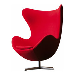 Republic of Fritz Hansen - Arne Jacobsen Egg Chair, Red Fabric, by Fritz Hansen | Danish Design Store - First designed in the late '50s for the Royal Hotel in Copenhagen, the Jacobsen Egg Chair has a unique, sculptural shape that affords the sitter extra privacy and contrasts visually with the classic straight lines of modern design. One of a kind and eternally classy, this designer classic comes with an adjustable tilt feature and a star-shaped aluminum base.