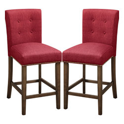 Adarn Inc - 2PC Blended Linen Button Tufted Back Counter High Dining Chair, Dark Red - Ultra modern décor is delivered by this chic counter height barstool of design perfection. Its simplicity offers studded seat trim and button tufting on the back support.