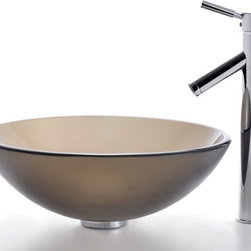 Kraus - Frosted Brown Glass Vessel Sink and Sheven Faucet (Chrome) - Finish: Chrome