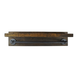 "Edna Faye Creations - Industrial Wall Mounted Towel Bar, 24"" - The towel bar is built from recycled iron piping with a 24 inch center bar.  It will add a touch of class to a loft, office, rustic style home decor, or an industrial urban space.  We offer matching toilet paper holders, towel and robe hooks, shelves to assemble a complete matching combination."
