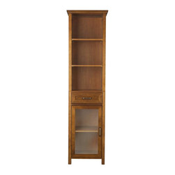 Elegant Home Fashions - Avery Linen Cabinet with 1 Drawer and 3 open shelves - Wood veneer with Oil Oak - The Avery Linen Tower Storage Cabinet with One Drawer and Three Open Shelves from Elegant Home Fashions features an oil oak finish.  Crown molding on the top combines a traditional style for any bathroom.  Its design offers plenty of storage with one door with adjustable shelves, one drawer, and two open shelves making it easy to store items of different heights. The metal glider drawer allows for easy open and close operation. The tempered glass-paneled doors provides a clear view into the cabinet,  and features a metal handle for easy opening. This sturdy cabinet comes with assembly hardware.