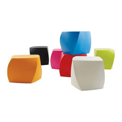Frank Gehry Left Twist Cube | DWR - These gem-like cubes designed by Frank Gehry are like little sculptures that you can actually use as furniture. They are UV-protected and completely weatherproof, so you don't have to worry about dragging them indoors during a rainstorm.