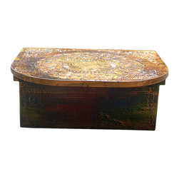 Golden Lotus - Tibetan Lotus Graphic Yellow Low Prayer Display Table - This is a low small table with oriental Tibetan style graphic on the surface in rustic yellow green base color. It can be a tea table on a daybed, or a prayer table on the floor or counter.