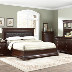 """Coaster - Kurtis 5Pc California King Bedroom Set in Walnut Brown Finish - This collection is a perfect way to furnish your home bedroom area in a casual and comfortable style. The flowing curves of the case tops and round drawer pulls create a feel of soft movement, making your home a relaxing, comfortable place to be. Crafted from poplar and birch veneers. The bedroom group collection offers plenty of storage, so keeping your bedroom clean will prove a manageable task.; This set includes bed, nightstand, dresser, mirror and chest.; Traditional Style; Walnut Brown Finish; Dimensions: Bed: 91""""L x 96.75""""W x 60.25""""H; Nightstand: 30""""L x 17""""W x 30""""H; Dresser: 66""""L x 18""""W x 39""""H; Mirror: 48""""L x 2.75""""W x 40""""H; Chest: 36""""L x 18""""W x 51""""H"""