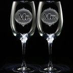 Crystal Imagery, Inc. - Mr. and Mrs. Wine Glass Set, Wedding Anniversary Glasses - Mr. and Mrs. Engraved Wine Glass Set is a unique personalized wedding glass toasting set for the bride and groom, or anniversary glass set that would be perfect to use for a special celebration or party. Our engraved gifts for newlyweds and married couples are the jaw-dropping gifts that will be cherished throughout the years. Hand carved one at a time by our master glass carvers, our products are unmatched by standard engravers and etchers.