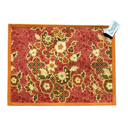 Garden Candy - Orange Cotton Placemat - Garden Candy's Sarong Patterned Placemat is reversible to accommodate that finishing touch to your table setting. It perfectly compliments our Sarong Patterned Seat Cushion and Rectangular Pillow.