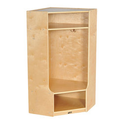 Ecr4kids - Ecr4Kids Birch 2-Section Corner Coat Locker With Bench/ Natural - A 2-section coat locker that accommodates up to 4 children. Perfect for the corner to extend any of our coat lockers Each unit features 4 coat hooks, and cubbies above and below for storing shoes, boots, hats, lunchboxes, backpacks and more. Built-in bench makes changing shoes and boots easier. Style Notes:  Natural. Colors may vary and are subject to change without notice.