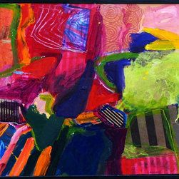 Abstract Still  Life #3, Original, Painting - Lively and colorful abstract composition which incorporates the addition of collage, floated in a black wood frame