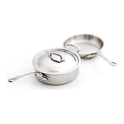 "Mauviel - Mauviel M' Cook 5-Ply Stainless 3-Piece Cookware Set - Multi-layered 18/10 stainless steel provides a rapid, unform heat conduction and distribution. Noncorrosive Thickness: 1.6mm of aluminum plus 1mm of stainless steel for a total of 2.6mm thickness Polished outside finish Fixed by sturdy stainless steel rivets Stainless steel handles Suitable for electric, gas, halogen and induction cooktops Includes:     (01) 5213.26 Round Frying Pan 10.25""    (01) 5211.25 Saute Pan with lid with helper Handle 3.4-qt. Made in France."