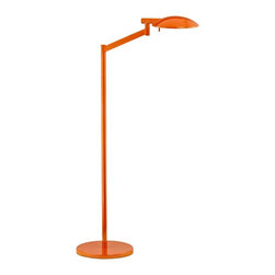 "Sonneman - Contemporary Robert Sonneman Perch Gloss Orange Chairside Floor Lamp - Robert Sonneman is acclaimed for his elegantly minimal and beautifully modern designs. In the Perch gloss orange floor lamp he's created a wonderful reading and task light which features an adjustable head with a bright Xenon halogen bulb. Use the high-low rocker switch on the cord to select the light output that's right for you. From Robert Sonneman lighting. Perch floor lamp by Sonneman lighting. Gloss orange finish. Includes one 75 watt Xenon bulb. High/low rocker switch. Rotating head and shade. 41 1/2"" high. 22 3/4"" wide. 14"" deep. Metal shade is 8"" wide 1 1/2"" high. Base is 10"" wide.  Perch floor lamp by Sonneman lighting.  Gloss orange finish.  Includes one 75 watt Xenon bulb.  High/low rocker switch.  Rotating head and shade.  41 1/2"" high.  22 3/4"" wide.  14"" deep.  Metal shade is 8"" wide 1 1/2"" high.  Base is 10"" wide."