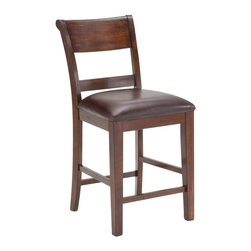 Hillsdale Furniture - Dining Non-Swivel Counter Stools - Set of 2 - Includes 2 stools. The stools are reminiscent of traditional ladder-back style with a hint of transitional design in the wide top slat and easy to care for brown faux leather seat