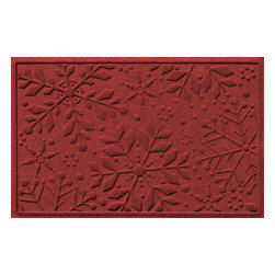 Bungalow Flooring - Aqua Shield 2'x3' Holiday Snowflake Doormat, Red/Black - Premium 24-oz. anti-static polypropylene mat traps dirt, water and mud.