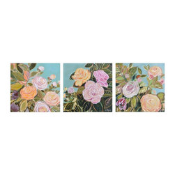 Ren-Wil - Ren-Wil Flora Grace Wall Art, Set of 3 - This set of 3 hand-painted floral canvases feature a vintage coloration making them to be the focal point of any space.