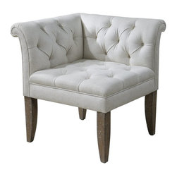 """Carolyn Kinder - Carolyn Kinder Tahtesa Corner Chair X-52132 - Classic, Chesterfield tufting and pleated roll arms in a bright ecru, textural linen blend, set in confident style on robust yet shapely tapered legs. Showing both fine wood grain and layers of hand finishing and distressing, this chair embodies timeworn, ageless elegance. Seat height is 19.5""""."""