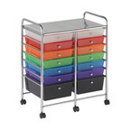 Ecr4kids - Ecr4Kids 14 Drawer Mobile Organizer (Assorted) - This practical organizer can hold just about everything from art and crafts projects to office supplies or even hand tools With its 14 drawers, its perfect for the home or office. Polypropylene drawers easily slide in and out on the chrome plated steel frame rails. This double-wide, multi-purpose organizer glides effortlessly under most tables or desks on 6-swivel casters (2-locking).