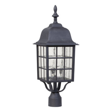 Exteriors - Exteriors Cast Aluminum Grid Cage Outdoor Post Lantern Light X-50-575Z - The turned finial has been paired with gridded windows and a domed roof with multiple tiers, adding to the appeal of this Craftmade outdoor post lantern light. The charming details and coordinating candelabra lights of this cast aluminum post light are highlighted by a classic Matte Black finish. Seeded glass panels complete the design, adding texture and appeal.