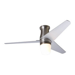 """Modern Fan - Contemporary 50"""" Velo Bright Nickel Hugger Ceiling Fan with Light Kit - From Modern Fan Company this formidable ceiling fan comes in a bright nickel finish with three nickel finish blades and is designed to move the maximum amount of air. Includes a 3-speed wall control for fan speed and light control. Hand-held remote control is optional. Induction motor with limited lifetime warranty. 50"""" blade span. Variable blade pitch. (UM)  Bright Nickel motor finish.  Three nickel finish blades.  Limited lifetime motor warranty.  Includes a 3-speed wall control for fan speed and light control.  Hand-held remote control is optional.  50"""" blade span."""