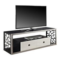 "Walker Edison - Walker Edison Modern Mosaic 60"" TV Stand in Black - Walker Edison - TV Stands - V60MSC - Bring a sophisticated look to any entertaining area or living room with this uniquely designed TV stand. A thick tempered safety glass fits firmly in a hand-brushed silver steel frame with intricate laser side cutouts in a mosaic design. The accentuated white silk-screened glass on two multi-functional storage drawers offer a beautiful two-toned finish. Its vast size combined with durable construction supports most TVs up to 65 inches."