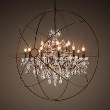 Foucault's Orb Crystal Chandelier Rustic Iron Large | Ceiling | Restoration Hard