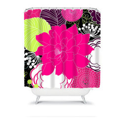 Shower Curtain Flower Hot Pink Lime Black 71x74 Bathroom Decor Made in the USA - DETAILS: