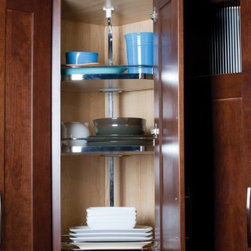 Getting Organized with Fieldstone Cabinetry - Corner storage with lazy susan for easy access to all your items