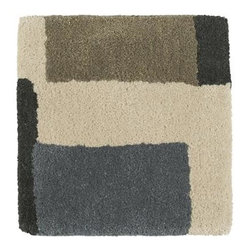 "City Grey 12"" sq. Rug Swatch - Neutral squares and bold stepped lines in black are designer Suki Cheema's geometric interpretation of London's old cobblestone streets, paving the way for a modern yet organic look. Handtufted of a blend of soft New Zealand wools."