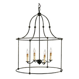 Fitzjames Mayfair Four-Light Lantern - The larger scale of this lantern (almost 2 feet wide and 3 feet tall) is sure to make a grand statement.  It's perfect for a tall ceiling or grand foyer.
