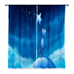 """DiaNoche Designs - Window Curtains Unlined - Toosh Toosh Reach for a Star - Purchasing window curtains just got easier and better! Create a designer look to any of your living spaces with our decorative and unique """"Unlined Window Curtains."""" Perfect for the living room, dining room or bedroom, these artistic curtains are an easy and inexpensive way to add color and style when decorating your home.  This is a tight woven poly material that filters outside light and creates a privacy barrier.  Each package includes two easy-to-hang, 3 inch diameter pole-pocket curtain panels.  The width listed is the total measurement of the two panels.  Curtain rod sold separately. Easy care, machine wash cold, tumbles dry low, iron low if needed.  Made in USA and Imported."""