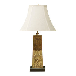 China Furniture and Arts - Stone Buddha Table Lamp with Shade - Delicately hand-carved in stone, this lamp depicts three Buddha at meditation. A wooden base is specially made to complement this work of art. Topped with off-white linen shade. 75 watt max. (Bulb not included)