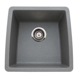 """Blanco - Blanco 440082 Metallic Gray Performa Performa Silgranit Single Bowl - Performa Silgranit Single Bowl Undermount Bar Sink 17 1/2"""" x 17""""Indulge in the ultimate performance of our colorful, single bowl design. Perfect for a bar or secondary sink, this design stands up to the most challenging conditions including heat, scratches, stains and chips.  Harmonizes perfectly with main sink designs  80% solid granite, SILGRANIT  material features the touch and feel of natural stone  Color all the way through  Highly resistant to scratching and chipping  Heat resistant to 536-F  Homogenous and non-porous, resists most stains including household acids and alkali solutions  Undermount clips provided"""