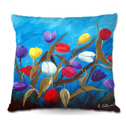 DiaNoche Designs - Pillow Woven Poplin from DiaNoche Designs - Tulips Galore II - Toss this decorative pillow on any bed, sofa or chair, and add personality to your chic and stylish decor. Lay your head against your new art and relax! Made of woven Poly-Poplin.  Includes a cushy supportive pillow insert, zipped inside. Dye Sublimation printing adheres the ink to the material for long life and durability. Double Sided Print, Machine Washable, Product may vary slightly from image.