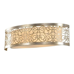 Feiss - Arabesque Bath Bar by Feiss - Inspired by the geometric form of Islamic art, the frame of the Murray Feiss Arabesque Bath Bar showcases the repetitious, vine-like form so often seen in traditional arabesque motifs. Over the Ivory fabric shade, the curved and intricately detailed frame is finished in a Silver Leaf Patina that gleams silver with subtle gold overtones.Murray Feiss lighting boasts an award-winning team of industrial, graphic and interior designers and engineers that guarantee only the finest materials are used for their products.The Murray Feiss Arabesque Bath Bar is available with the following:Details:Ivory fabric shadeSteel frameSilver Leaf Patina finishRectangular wall plateUL Listed for damp locationsLighting: Two 100 Watt 120 Volt Medium Base Incandescent lamps (not included).Shipping:This item usually ships within 3-5 business days.