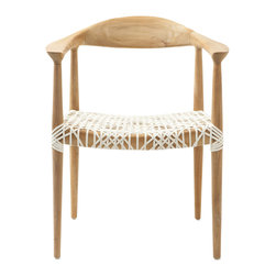 Safavieh - Bandelier Arm Chair - Reminiscent of mid-century modern chairs with blond wood and spindle legs, the retro chic Bandelier armchair is updated with intricate woven seat in a contemporary laced web effect. Made from reclaimed teak, this transitional chair adds character to the living room, family room or perhaps a pair facing a desk.