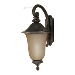 Satco - Satco Parisian ES Energy Efficient Traditional Outdoor Wall Sconce with Photocel - Rise above the hoi polloi with this traditional wall sconce. The old penny bronze finish and lantern styling adds some old world comfort to your garden or porch. The champagne glass provides soothing relief and a friendly sparkle.